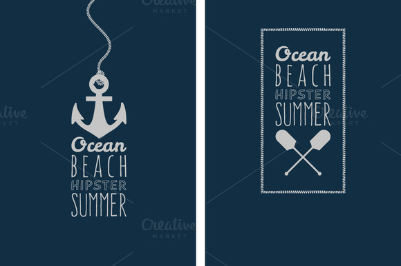 Vector Ocean Badge Hipster Style