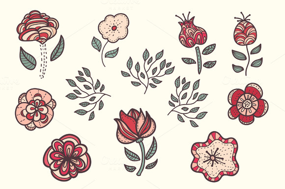Hand Drawn Set Of Flower 2patterns