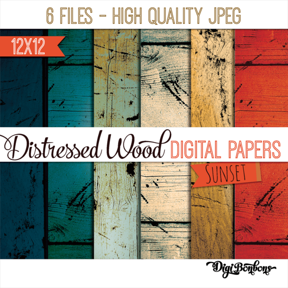 Colorful Distressed Wood Patterns