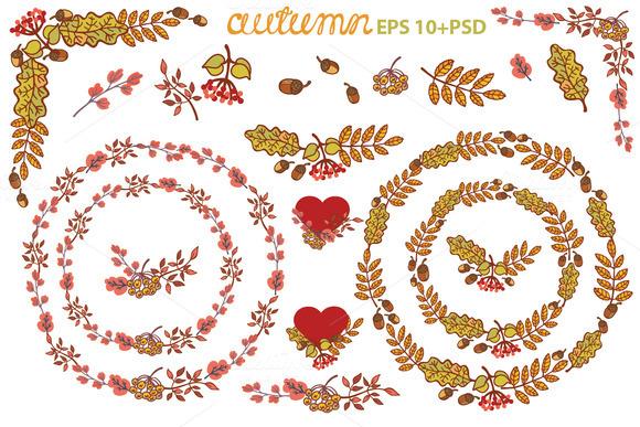 Autumn Leaves Wreath Set Clipart 1
