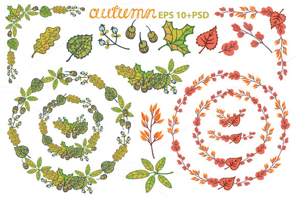 Autumn Leaves Wreath Set Clipart