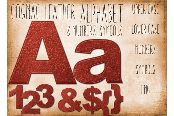 Leather Alphabet Clip Art