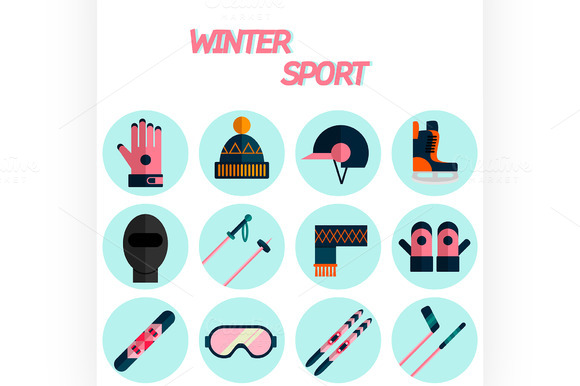 Winter Sport Flat Icon Set
