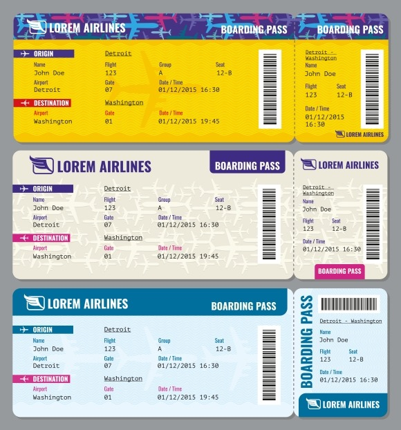 Airplane Vector Traveling Tickets