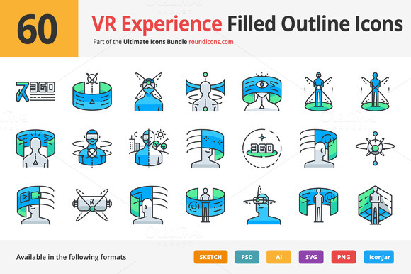 60 VR Experience Filled Outline Icon