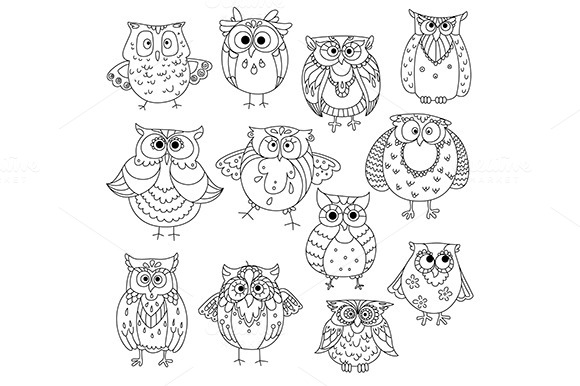 Sketches Of Cute Owls