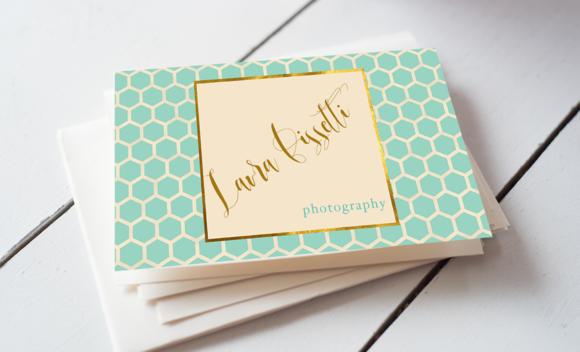 Teal Quatrefoil Business Card