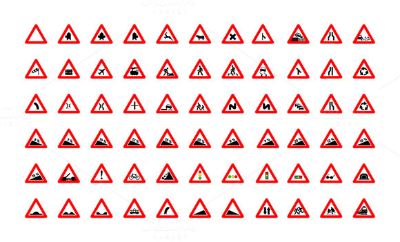 Set Of Triangular Road Signs