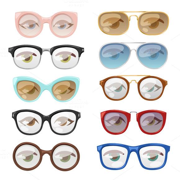 Glasses Human Eye Vector Set