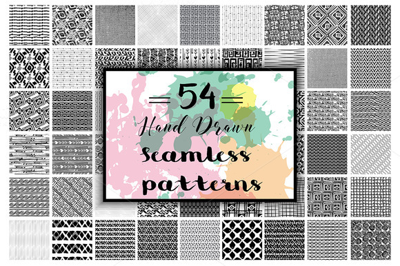54 Hand Drawn Seamless Patterns