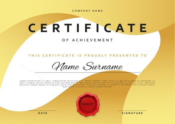 Gold certificate template free vector download 15269