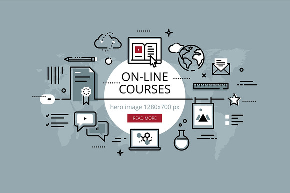 On-line Courses Hero Banners Set