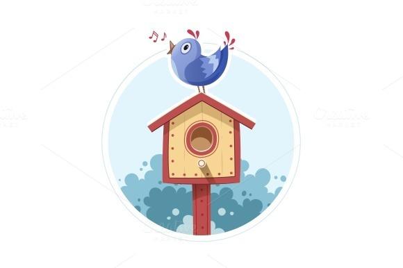 Bird Sit And Sing On Nesting Box