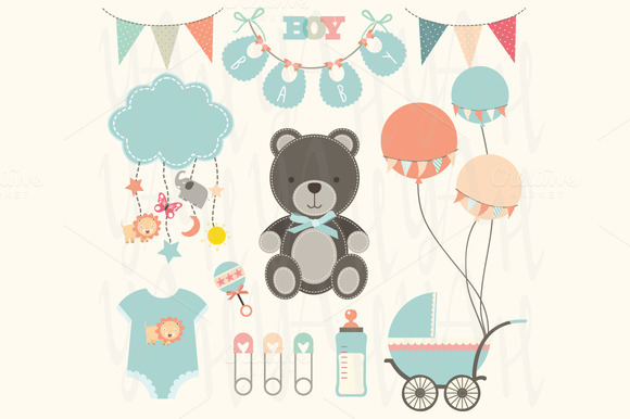 Cute Baby Shower Elements