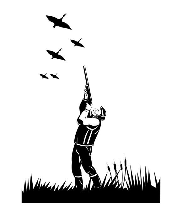 Hunter Aiming Shotgun Rifle Duck