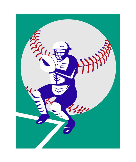 Baseball Player Catcher Retro