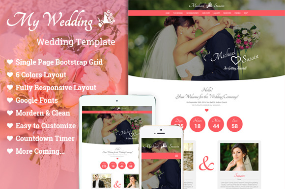Wedding One Page Template