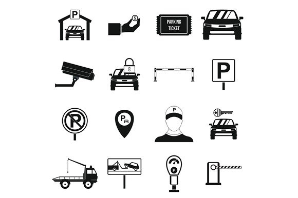 Parking Set Icons Simple Style