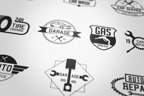 Mechanic Garage Badges Logos