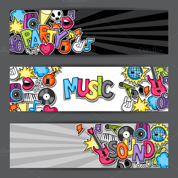 Music Party Kawaii Banners