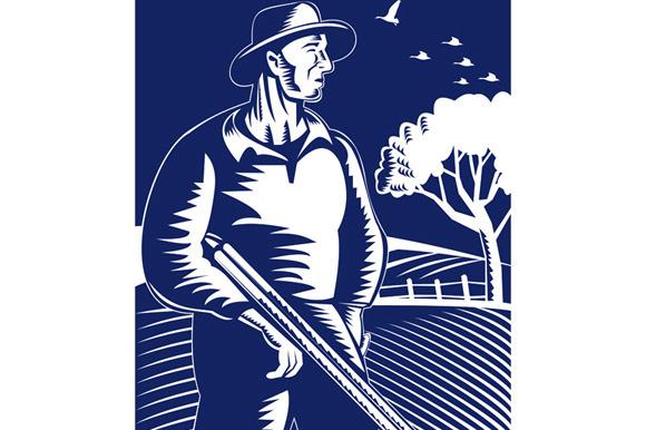 Farmer Hunter With Shotgun Rifle