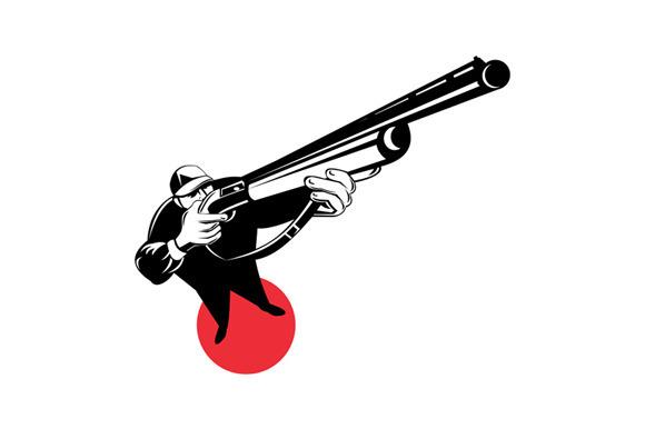 Stock Graphic - Hunter Aiming Shotgun Rifle » Logotire.com