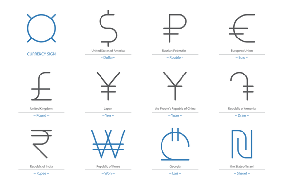 Currency Sign Vector 12 Signs
