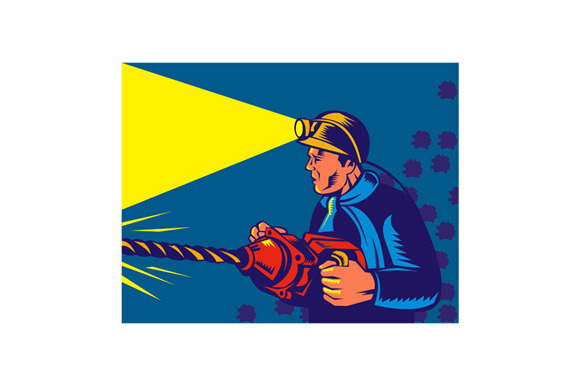 Miner With Jack Drill