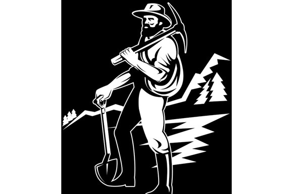 Miner With Pick Axe And Shovel