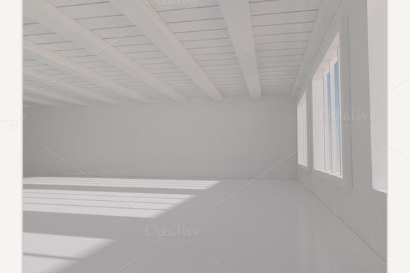 Spacious White Room 3D Rendering