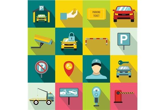 Parking Set Icons Flat Style