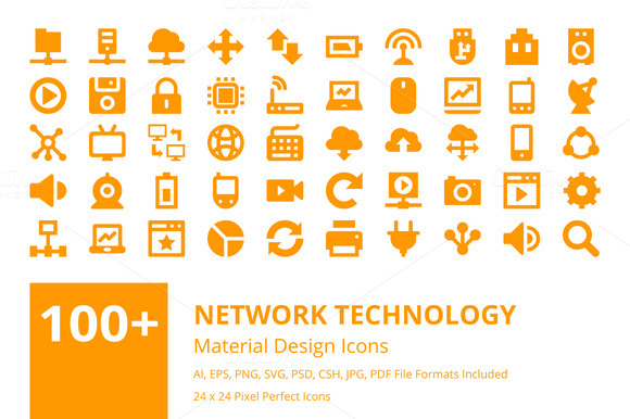 100 Network Technology Icons Set