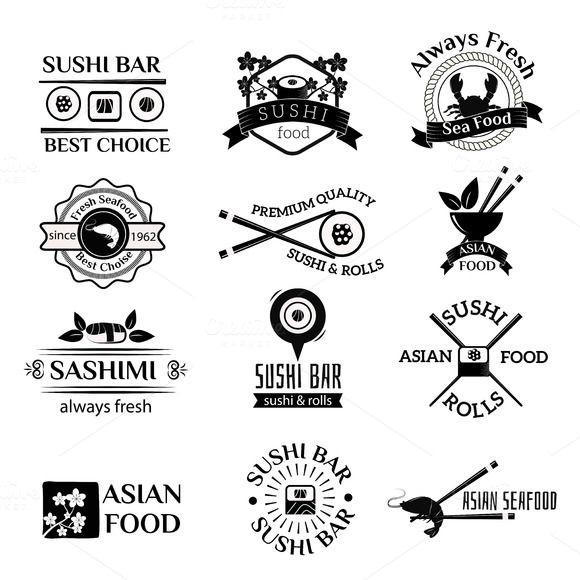 Sushi Logo Icons Vector Set