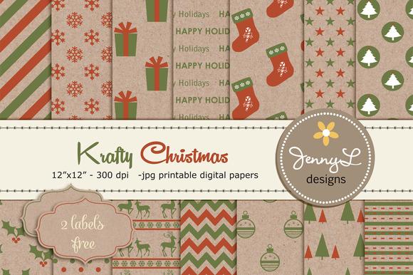 Kraft Christmas Digital Papers