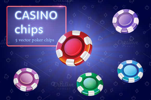 Set Of Colorful Casino Chips Vector