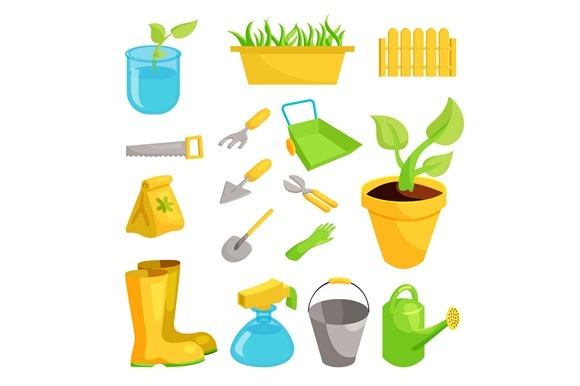Garden Icons Set Cartoon Style