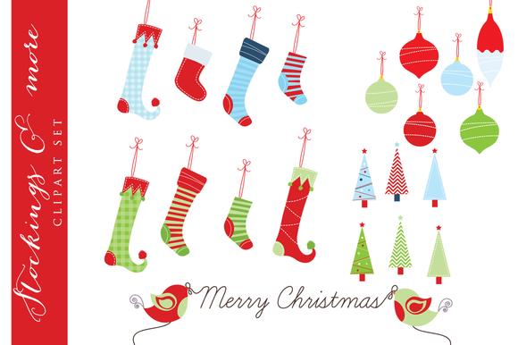 Christmas Stockings Clip Art Trees