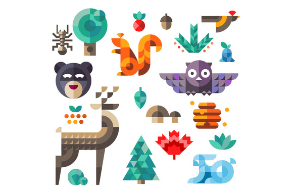Vector Set Of Cute Flat Forest