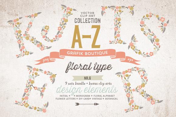 COMPLETE Vector Floral Alphabet