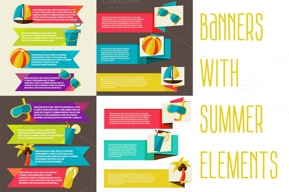Banners With Summer Elements