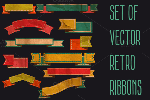 Set Of Vector Retro Ribbons