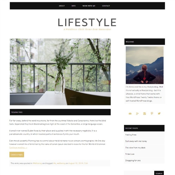 Lifestyle Twenty Twelve Child Theme