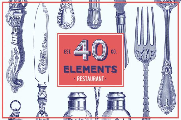 Restaurant Vector Pack 40 Elements