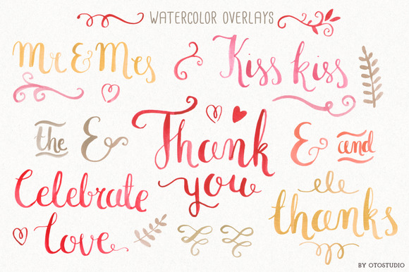 Watercolor Wedding Overlays