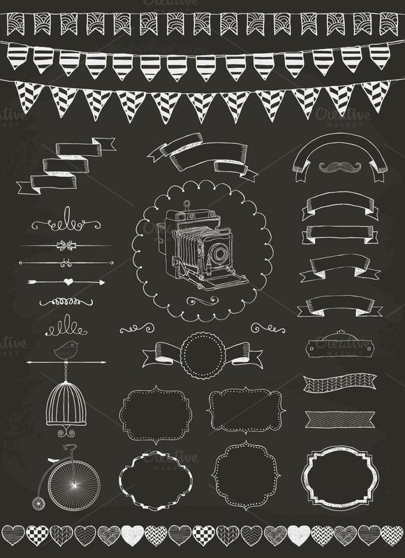 Hand Drawn Ribbons And Frames
