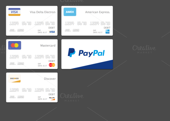 Flat Minimalist Payment Cards