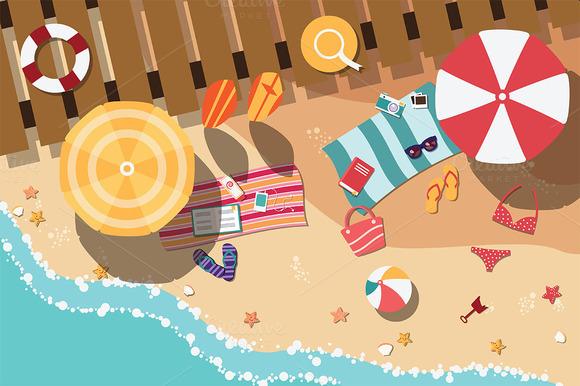 Beach Flat Design