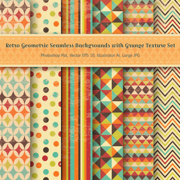 Retro Geometric Seamless Backgrounds