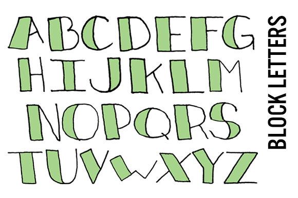 Doodle Block Letters Mint