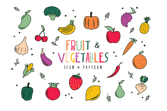 Fruit Vegetables Seamless Pattern